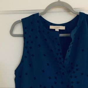 Blue+Black Star Sleeveless Business-Casual Blouse